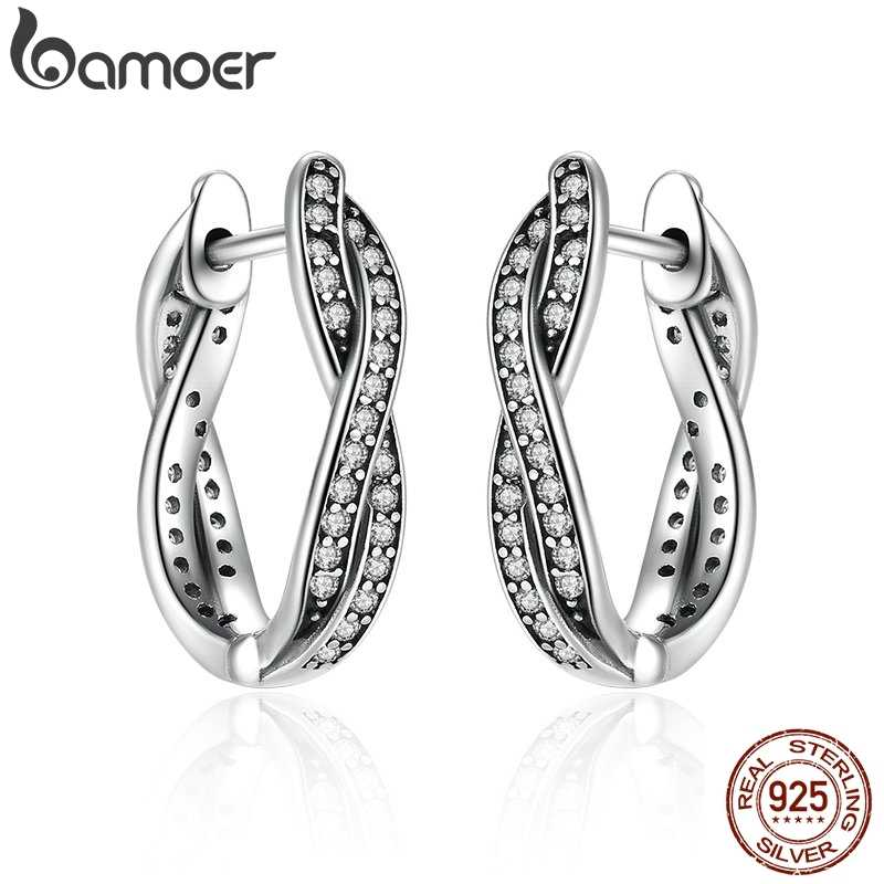 BAMOER Authentic 925 Sterling Silver Twist Of Fate Stud Earrings Clear CZ for Women Wedding Trendy Jewelry PAS465