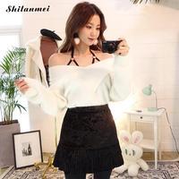 Cashmere Sweater Women V Neck Long Sleeve Pullover Tops 2017 Slim Knitted Sweater Blusas Off Shoulder