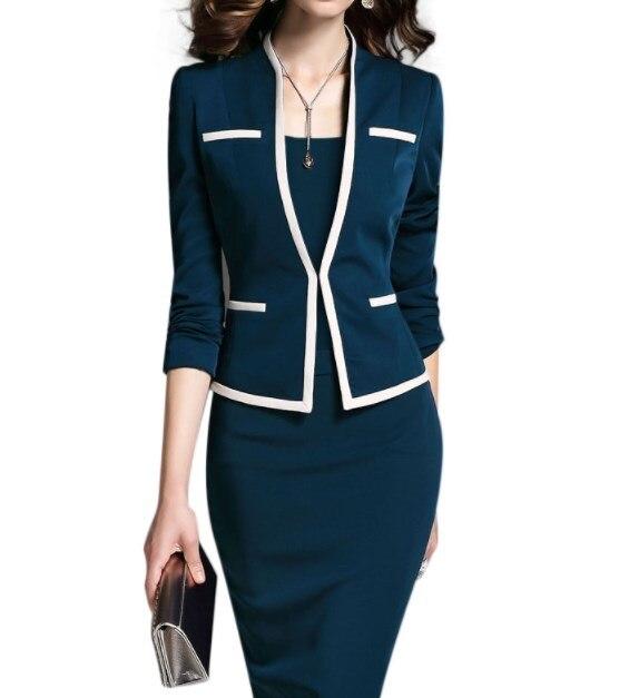 Professional Office Set w//2 piece Knit Dresses Blue /& Pink Jackets /& Skirts