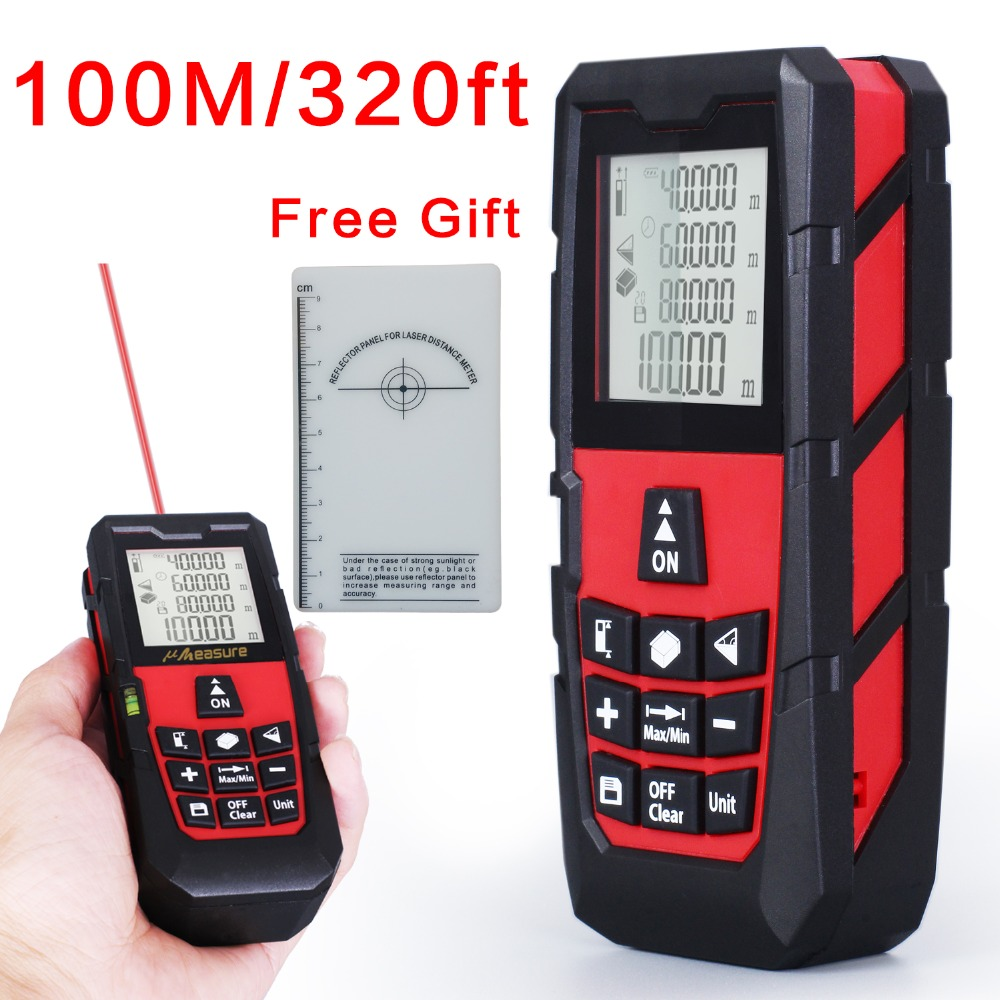 ФОТО Free Shipping Red 100M/320ft High Precision Handheld Rangefinder Laser distance meter Measure Distance/Area/volume Angle