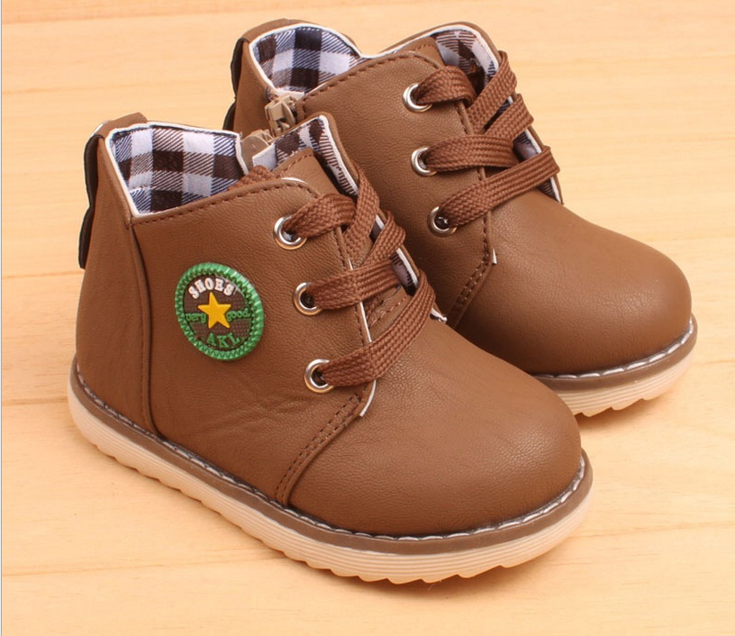 b76e5034f8 Wiosna Jesień Chłopcy Dziewczyny buty Zimowe Dla Dzieci Kostki Śniegu buty  botas menina Oddychająca Sznurowane Dzieci martin butów mieszkania