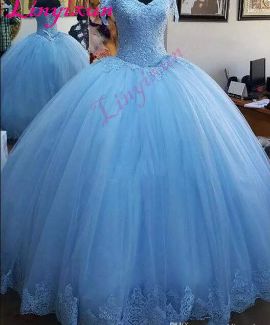 fe0a5548700d Light Blue Ball Gown Princess Quinceanera Dresses Cap Sleeve Appliques  Beaded Tulle Lace up Back Prom Dresses Sweet 16 Dresses