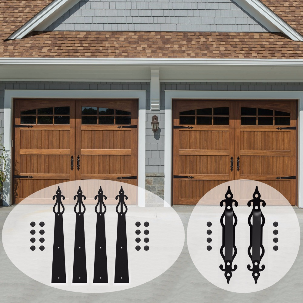LWZH Decorative Carriage House Garage Handle Hinge Accent Set Sliding Barn Door Hardware Kit Screw Mounted