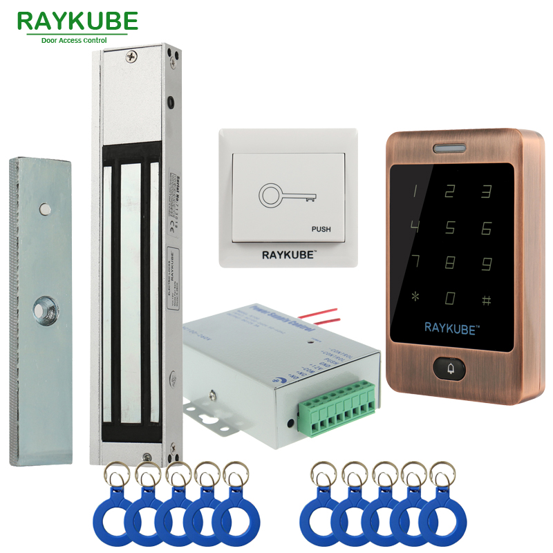 RAYKUBE Door Access Control System Kit 180KG/280KG Electric Magnetic Lock + Metal Touch FRID Keypad Exit Button single door access control system with 125khz rfid card without software door with 180kg 280kg magnetic lock touch exit button