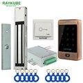 RAYKUBE Porta Kit Sistema de Controle de Acesso 180 KG/280 KG Elétrica Fechadura Magnética + Metal Toque FRID Teclado Saída botão