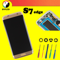 Original AMOLED Lcd For Samsung S7 edge screen G935 G935F Display For Samsung Galaxy S7 edge Lcd with Burning shadow Display