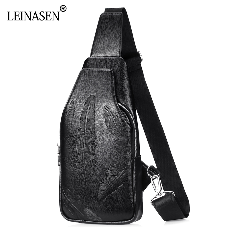 2017 New Fashion PU Leather Crossbody Bags for Men Messenger Chest Bag Pack Casual Bag Waterproof Single Shoulder Strap Pack