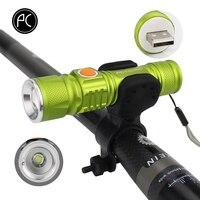 PCycling אופני אור 2000 לום סופר USB נטענים T6 LED אופניים אור ראש חזית פנס עמיד למים סוללה מובנית