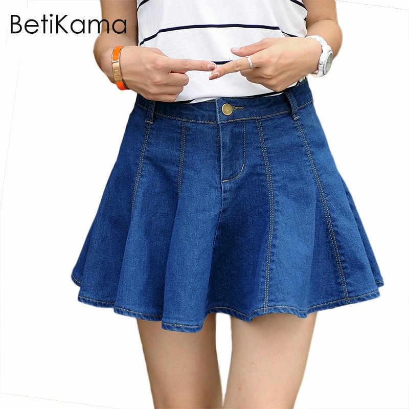 eb9b074d3dcb ... Girls Summer Solid Blue Jeans Pleated Mini Skirt Lolita Style Micro  Elastic Denim Skirts Women Sexy ...
