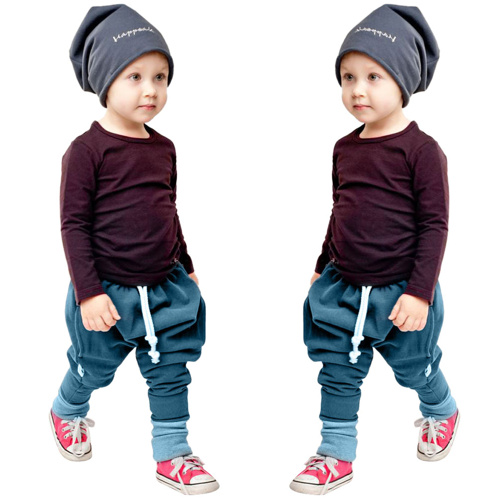 2017 New 2pcs/set Children Clothes Set Kids Baby Boys Long Sleeve T-shirt Tops+Harem Pants Clothes Outfit Set 2-6Y Spring Autumn 2017 spring autumn 1 6t kids cotton long sleeve t shirt baby boys girls age number blouse tops children pullovers tee camiseta