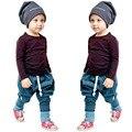 Novo 2 pçs/set Crianças Roupas Definir Crianças Bebê Meninos de Manga Comprida T-shirt Tops + Harem Pants Roupas Outfit Set 2-6A primavera Outono