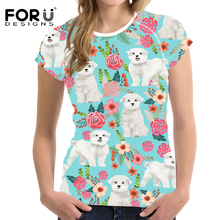 FORUDESIGNS Women T Shirt 3D Maltese Florals Print Women T Shirt Ladies Fashion O-neck Tee Shirt for Teen Girls Kawaii Tops Tees