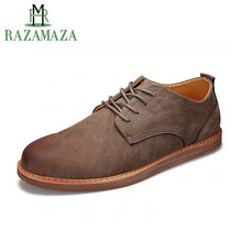 RAZAMAZA British Style Concise Men Casual Shoes Lace Up Round Toe Flats Shoes Outdoor Club Charming Male Footwear Size 39-44