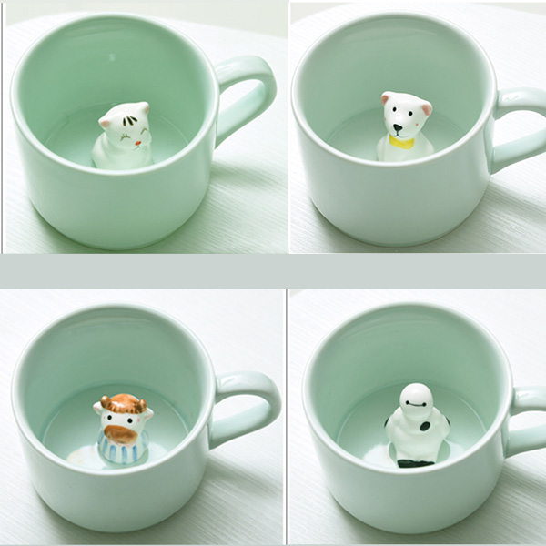 Creative 230ml Cute Kawaii Novelty 3D Animal Surprise <font><b>Inside</b></font> Ceramic <font><b>Cup</b></font> Mug Coffee Handmade Dinnerware