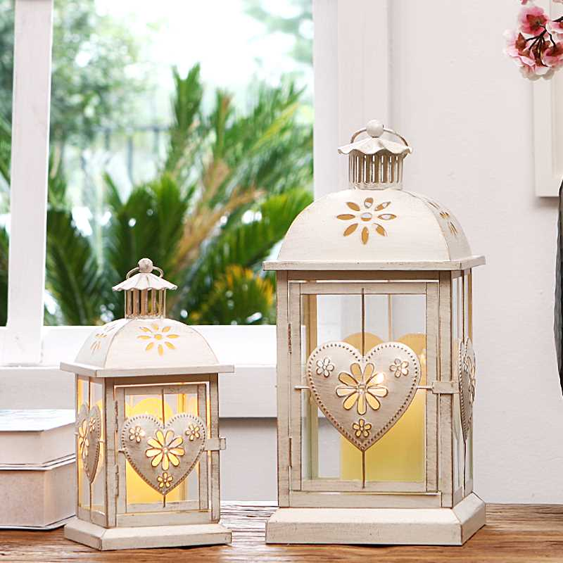 European style white iron lantern shaped night light wedding marriage room decoration courtyard candlestick lamps ZA116115 classic candlestick hollow iron art lamp for romantic wedding home decoration