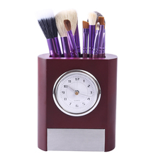 Retro Table Clock Pen Container Desk Clock For Home Study Room