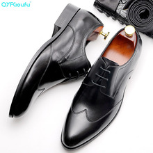 QYFCIOUFU New Arrival Luxury Pointed Toe Men Genuine Leather Shoes Lace-up Mens Dress Handmade Business Formal