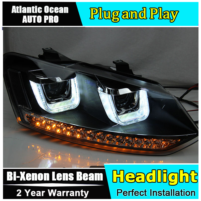 купить Auto.Pro Car Styling for VW Polo Headlights 2009-2015 GTI LED Headlight DRL Bi Xenon Lens High Low Beam Parking Fog Lamp Accesso недорого