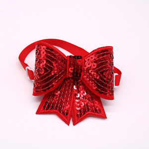 Image 4 - 50pcs Christmas Dog Accessories Shining Pet Dog Bow Tie Adjustable Christmas Dog Cat Bowties for Small&Medium Pet  Accessories