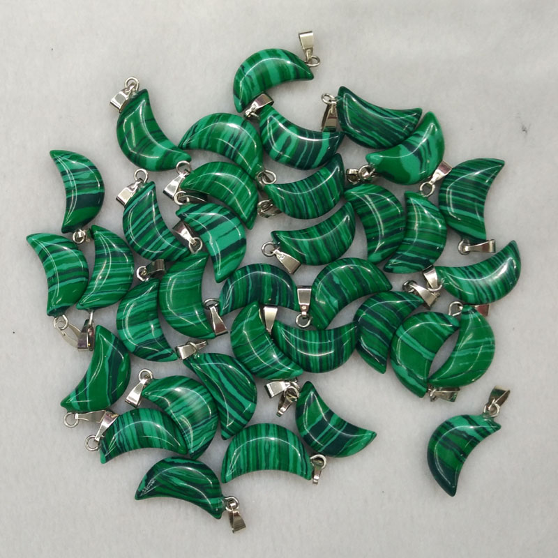 2017 fashion good quality malachite stone crescent moon charms and pendants for jewellery making Wholesale 50pcs/lot free