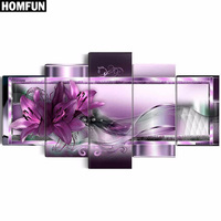 5pcs Full Square Round Drill 5D DIY Diamond Painting Purple Flower Multi Picture Combination 3D Embroidery