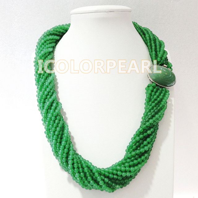 Gorgeous Multi-Strand 60cm Long 4/5mm Round Green Jade Jewelry Necklace.Best Gift For Mothers!