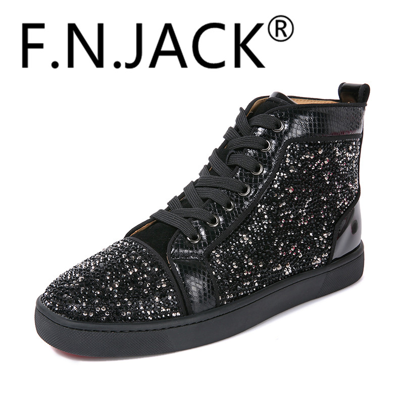 FNJACK Fashion Shoes Strass Swarovski Suede Sneaker Hi-top Flat Shoes - Мужская обувь