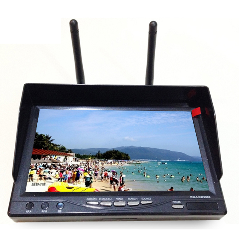 LCD5802 FPV Monitor 5.8ghz 800x480 Tft Lcd Monitor Diversity Receiver 7 Inch Built-in-battery Fpv Rx-lcd5802