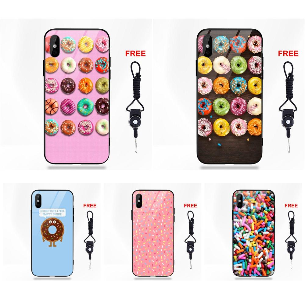 Picture Soft TPU Frame Tempered Glass Phone Case Donut Sprinkles Wallpaper For Apple iPhone 5 5C
