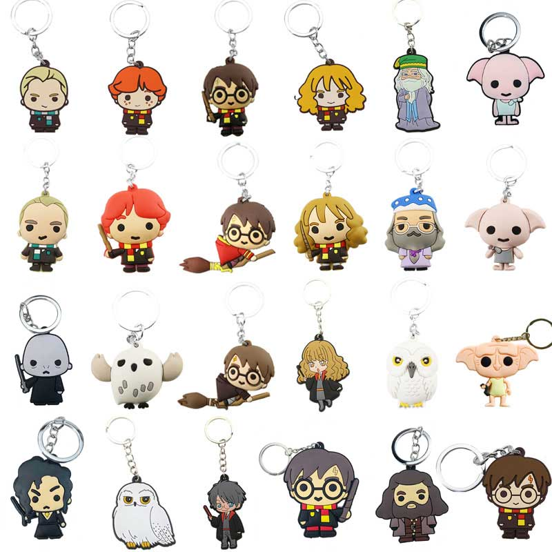 3D Harri PVC Keychain Action Figure Toy Dobby Hermione Malfoy Ron Weasley Snape Toys Party Cosplay Acrylic Harri Key Ring