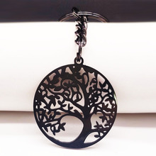 2019 Fashion Tree of Life Stainless Steel Keychain for Women Black Color Bag Accessories Jewelry llaveros K775606B