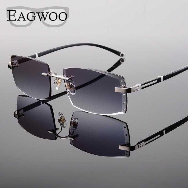 Alliage lunettes homme sans monture Prescription lecture myopie lunettes de soleil lunettes avec couleur teinté lentilles de Prescription 528065 - 4