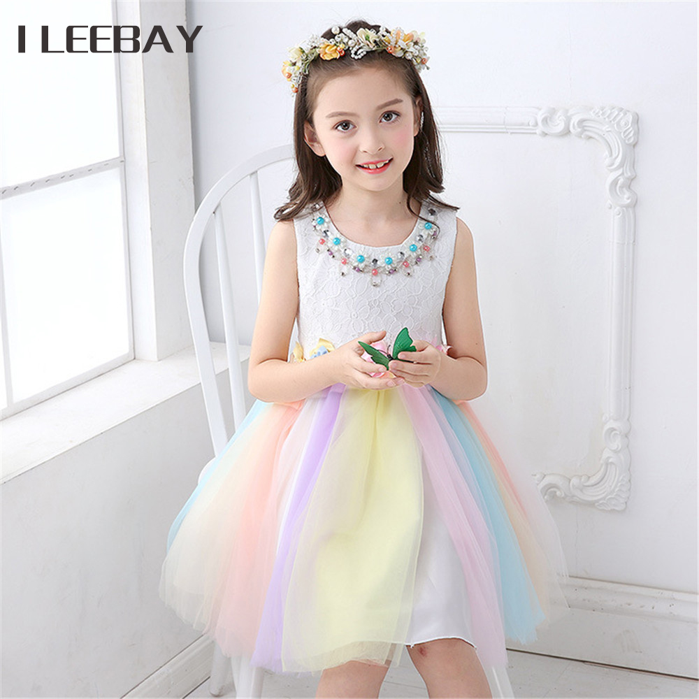 Big Girls Pearl Beading Princess Dress Children Rainbow Colorful Floral Party Dress Kids Baby Girl Clothes Toddler Tulle Costume kids girls lace princess dress children party dress for wedding baby girl clothes toddler solid color costume robe file vestidos