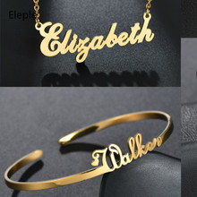 Eleple DIY Custom Stainless Steel English Name Clavicle Chain Gift Sweety Bracelet Necklaces for Lovers Jewelry S-DZK-00041