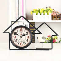 Retro house wrought iron mute clock antique craft clock home decoration accessories new house decoration living room clock