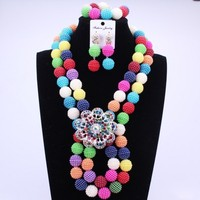 2017 Latest Colorful Nigerian Party Beads Women Choker Necklace Lace Jewelry Set Balls African Jewelry Sets Free Shipping