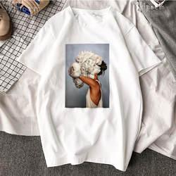 Новый хлопок Harajuku эстетики футболка пикантные цветы перо печати короткий рукав Топы И Футболки Для девочек модные повседневное пара