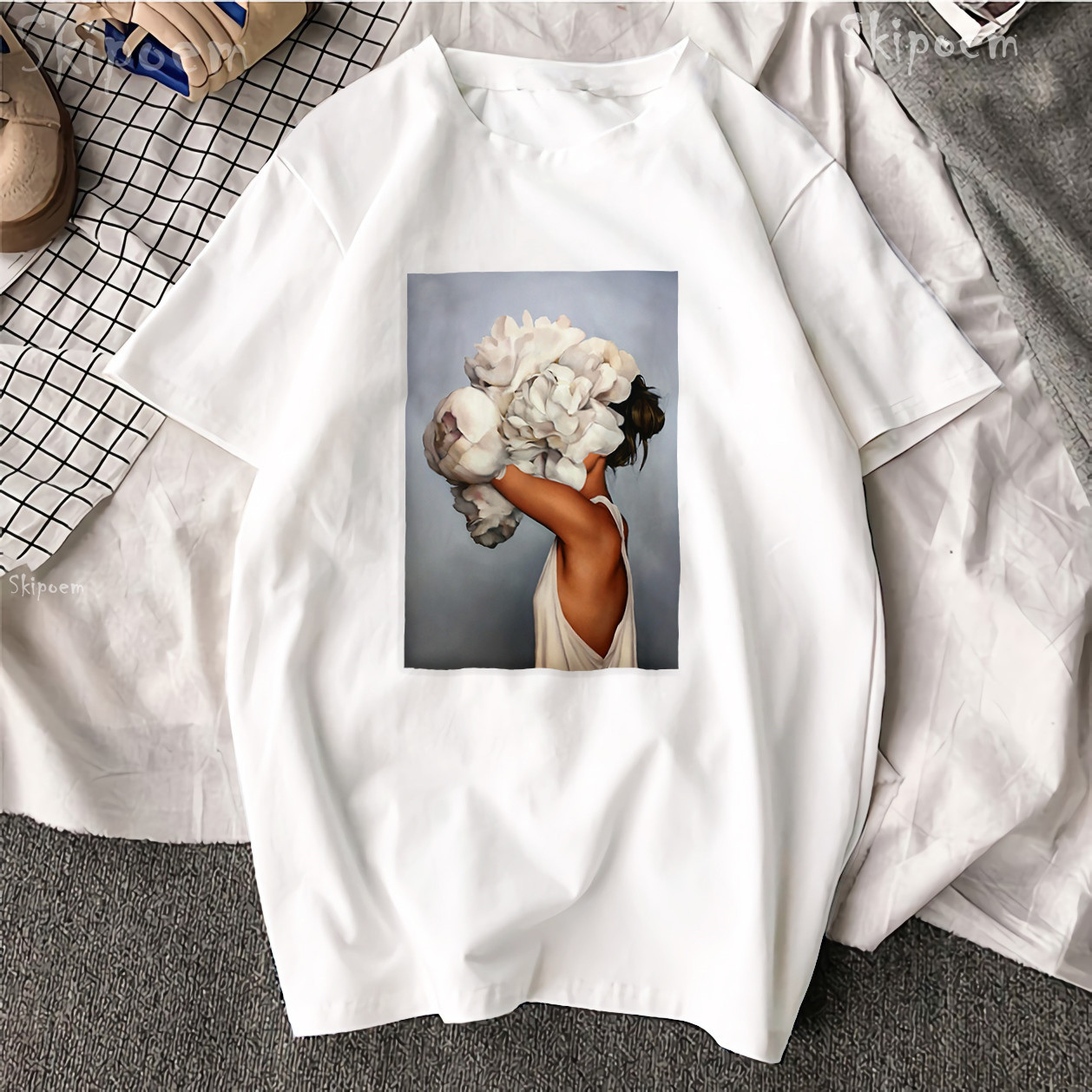 New Cotton Aesthetics T shirt Sexy Flowers Feather Printed Fashion Casual Couple T Shirt 1