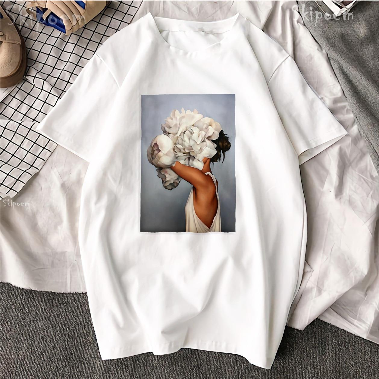 Novo Harajuku Algodão Estética Tshirt Sexy Flores Pena Imprimir Manga Curta Tops & T Moda Casual Camisa T Casal