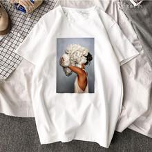 Nowa bawełniana koszulka estetyczna Harajuku Sexy kwiaty nadruk z piór z krótkim rękawem topy i koszulki moda na co dzień para T Shirt tanie tanio Kobiety Tees COTTON Suknem NONE REGULAR Drukuj O-neck Custom DIY T Shirt Skipoem XS S M L XL XXL XXXL 100 Cotton