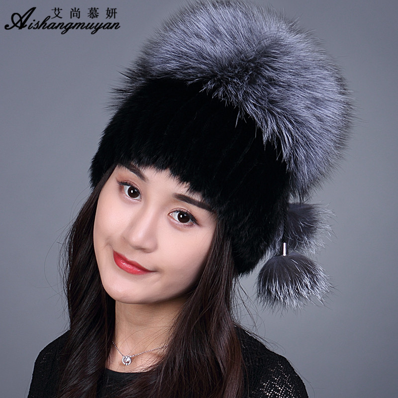 Real Mink Fur Hat For Women Winter Fur Cap Fox Pom Pom Fur New Warm Adult Hat For Russian Girls Elastic Knitted Beanie цены онлайн