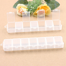 2Pcs Transparent 7 grid Adjustable box Travel Vacations pills Jewelry Electronic materials and accessories Storage Box