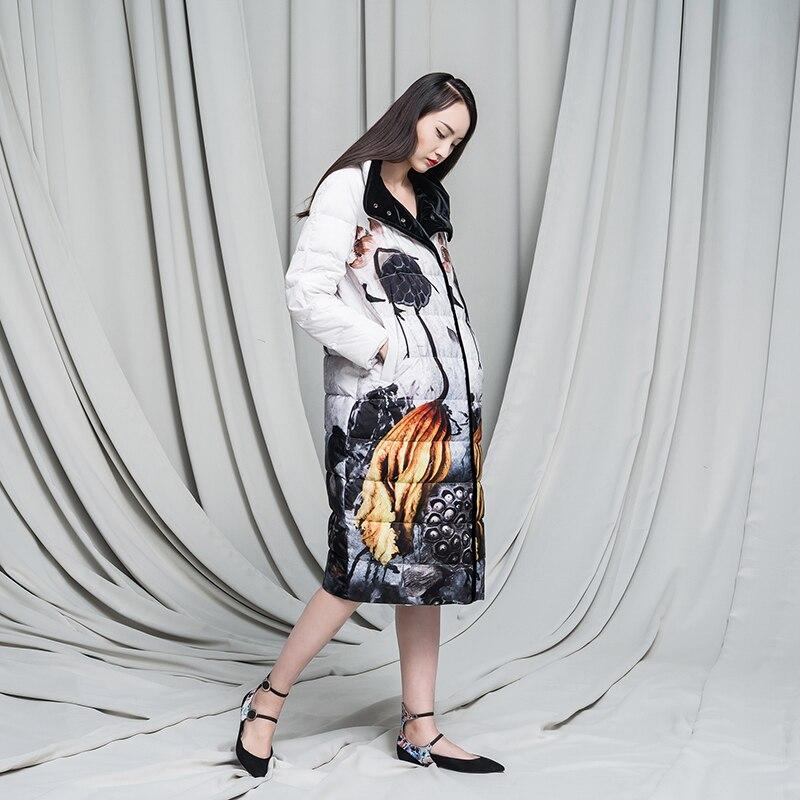 2016 Veste D'hiver Femmes down vestes d'encre motif vintage style chinois survêtement velours bas manteau femmes manteaux longue conception