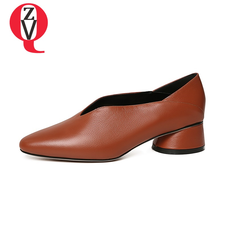 ZVQ woman casual pumps 2018 ladies pointed toe soft genuine leather 4 cm mid heel spring autumn concise women shoes 33-40CN 探索科学百科 discovery education(中阶)2级a3·泰坦尼克与冰山
