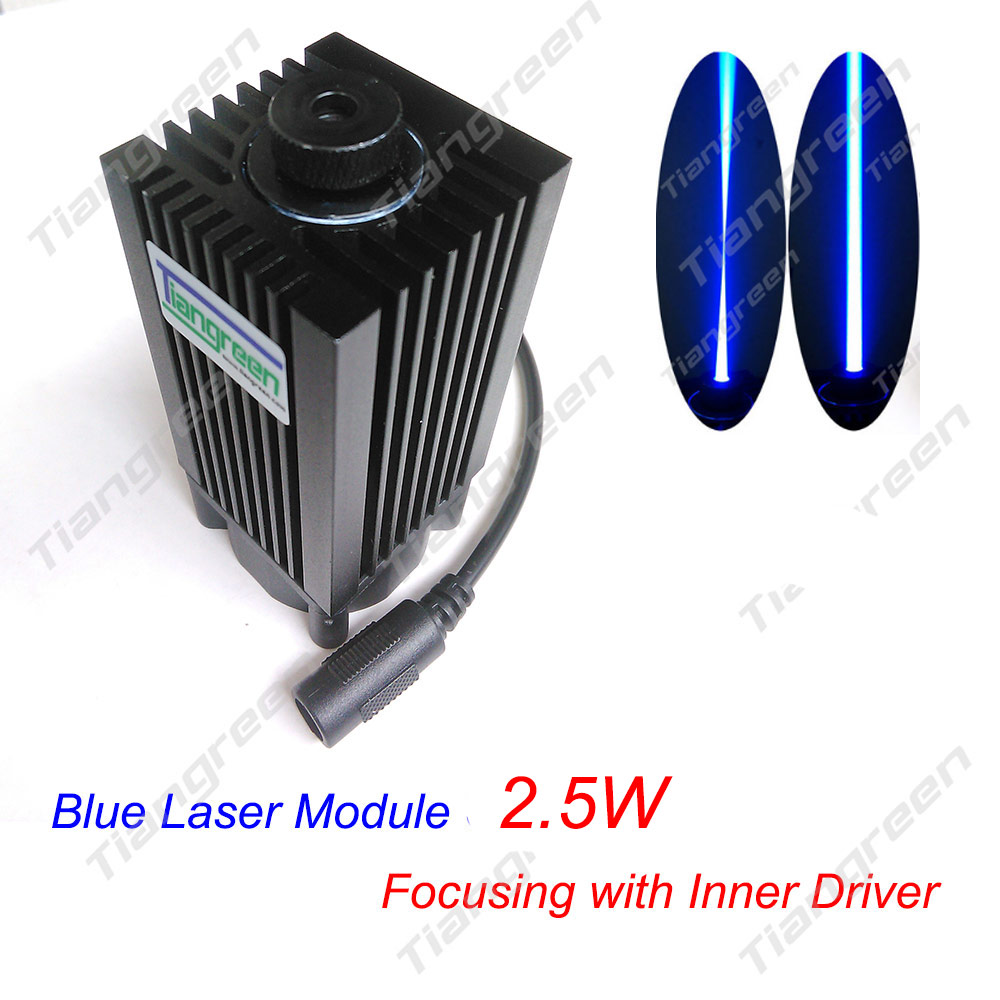 Free shipping 2.5W 450nm DIY Focusing Blue Purple Laser Module, 2500mW Laser Tube Diode 445nm, Engraver Machine Laser Head