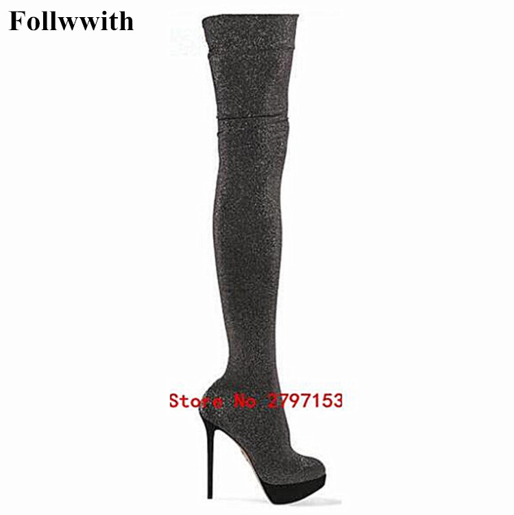 Spring Fashion Platform Slim Thigh Stiletto Heel Over the Knee Boots For Women High Heel 14CM Knitted fabrics Women Shoes jialuowei women sexy fashion shoes lace up knee high thin high heel platform thigh high boots pointed stiletto zip leather boots