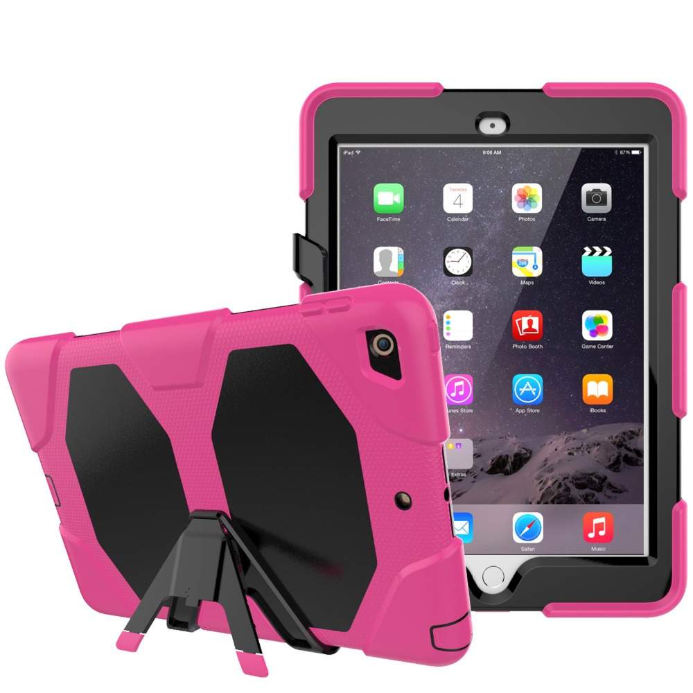 Для Apple iPad Air1 iPad 5 случай 3 Слои Защита ребенка безопасный противоударный силиконовый Футляр чехол с подставкой 12 цвета + Стилусы ручка
