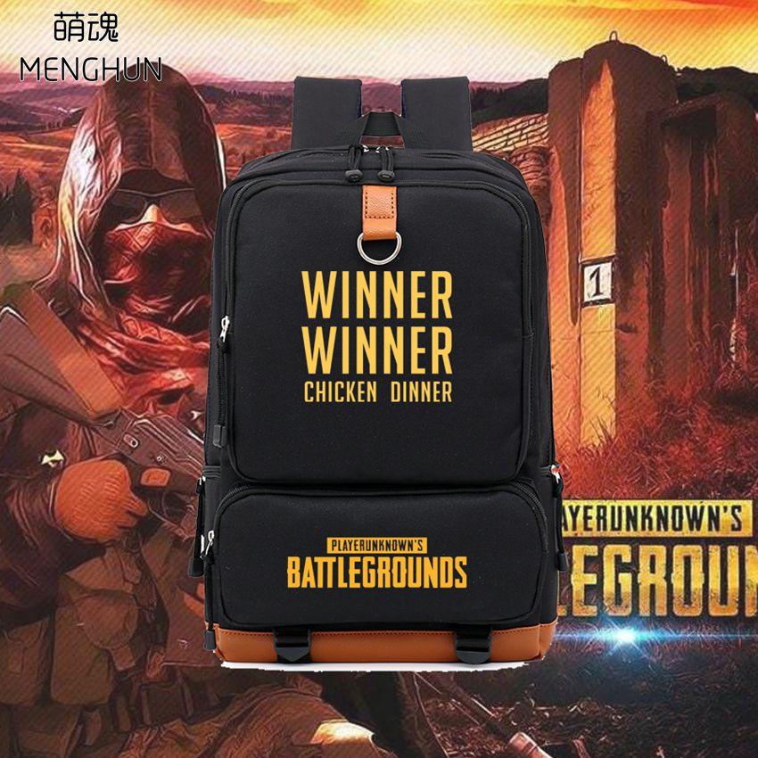Cool FPS game PUBG backpacks Player unknowns battlegrounds high quality backpack WINNER WINNER CHICKEN DINNER backpack nb215