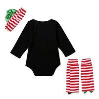 New 2 pcs Bodysuits Leg Warm Clothing Trendy Newborn Baby Kids Boys Girls Christmas Suit Clothing
