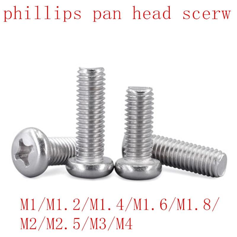 100Pcs 50pcs M1 M1.2 M1.4 M1.6 M2 M2.5 M3 M4 DIN7985 GB818 304 Stainless Steel Cross Recessed Pan Head Screws Phillips Screws